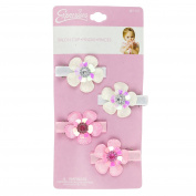 4PC METALLIC GLITT FLOWER SALON CLIP