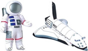 Inflatable 60cm Astronaut and 43cm Space Shuttle - 2 Pc Set - Space Party Toys and Decorations