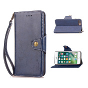 iPhone 7 Plus Case,DAMONDY Retro Business Stand Wallet Purse Card ID Holders Design Flip Cover TPU Soft Bumper PU Leather Magnetic for Apple iPhone 7 Plus-Blue