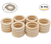 R.FLOWER 30 PCS 5.1cm Natural Wood Rings Circles Wooden Rings for Craft DIY Pendant Connectors Jewellery Making