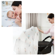 """LifeTree Baby Muslin Blanket 4 Layers - """"Feather Print"""" Bamboo Cotton Everything Blanket - Oversized 120cm x 120cm - Gender Neutral Baby Girl or Baby Boy Dream Blanket"""
