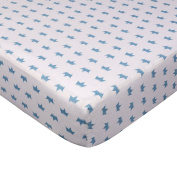 Living Textiles Fitted Sheet Little Crown, Blue