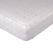 Living Textiles My First Alphabet Fitted Sheet, Pink