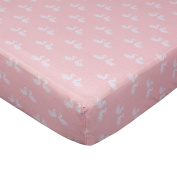 Living Textiles Fitted Sheet Paper Swans, Pink