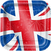 23cm Square Best of British Union Jack Party Plates, Pack of 8
