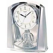 Rhythm Contemporary Mantel Clock Chrome Colour With Pendulum