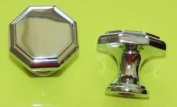 Two Polished Chrome Metal Octagonal Knobs 30mm