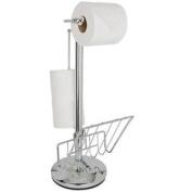 Heart Of House Chrome Freestanding Toilet Roll Dispenser Storage Holder Stand