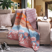 Luxury Reversible 100% Cotton Chic Boho Stripe Quilted Throw Blanket 150cm x 130cm Machine Washable and Dryable
