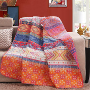 Luxury Reversible 100% Cotton Multicoloured Boho Stripe Quilted Throw Blanket 150cm x 130cm Machine Washable and Dryable