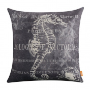 LINKWELL 46cm x 46cm Shabby Chic Seahorse Crab Palm Tree Coral Burlap Cushion Covers Pillow Case