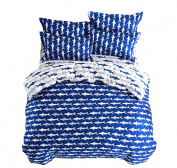 Mumgo Home Textile Bedding Sets Cotton & Microfiber for Adult Kids,Ocean Shark Design 3PC Duvet Cover Sets (Twin size-4pc