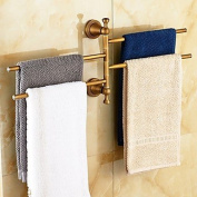 WYFC Antique Brass-Plated Solid Brass 4 Bars Rotatable Bathroom Towel Rack