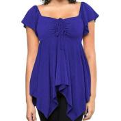 Orangeskycn Short Sleeve Irregular Hem Top Large Size S-3XL Women Blouse Tops