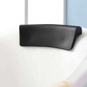 DealMux Black Neck Back Support Bathtub Tub Bath Spa Pillow Cushion w/ 2 Suction Cups 36cm x 13cm