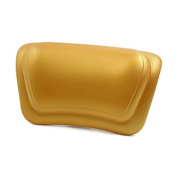 DealMux 30cm x 18cm Luxury Spa Bath Pillow with Suction Cups Fits All Types of Bathtub Gold Tone