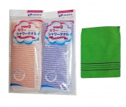 Nylon Korean Beauty Skin Bath Wash Cloth/Towel (2pc) & Viscos Exfoliating Bath towel (1pc) Set