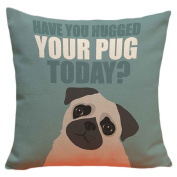 Gaosaili Cute Pug Dog Linen Square Pillow Case Bolster Without Filler Home Decorative Hug Pug