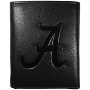 NCAA Alabama Crimson Tide Embossed Black Tri-fold Leather Wallet
