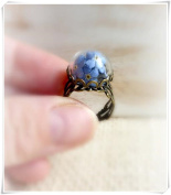 Forget me not real blue flowers ring
