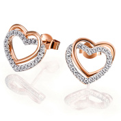 Goldmaid Women's 925 Sterling Silver Heart Earstuds red gold-plated with Cubic Zirconia