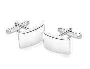 Tuscany Silver Rectangular Plain Curved Cufflinks