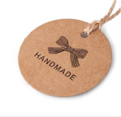 100Pcs HANDMADE Round Kraft Paper Christmas Gift Label Tags with String Wedding Party Gift Tag Price Tag Kraft Hang Tag