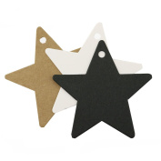 100Pcs Star Shape Crafts Paper Label Tags Wedding Party Price Name Card Gift Tag Luggage Hang Tag with String