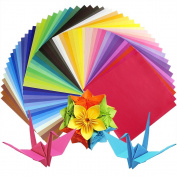 Caydo 50 Vivid Colours 100 Sheets Single Sided Origami Paper 20cm by 20cm for Arts and Crafts Projects