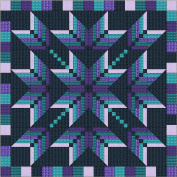 Easy Quilt Kit Exploding Star Purple/Aqua/3D