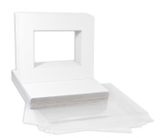 Mat Board Centre, Pack of 25 8x10 Crescent White Mat Set. Includes 25 Crescent Acid-Free Pre-Cut 8x10 White Picture Mat Bevel Cut Mattes for 5x7 Photos, 25 Backing Board & 25 Clear Bags