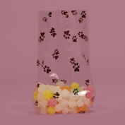 Paw Prints Clear Cello Bags - 23cm . X 10cm . X 5.1cm .