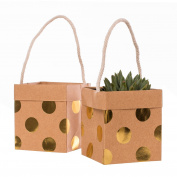 Ling's moment Summer Greenery Wedding Kraft Paper Bags Mini Golden Printed Polka Dots Birthday Party Gift Favour Bag for Bridal Showers Anniversary Baby Shower Succulent Cactus Light Convenience
