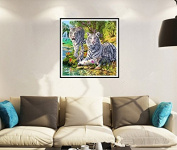 Fuming Two Tigers Diamond Embroidery 5D DIY Diamond Painting Cat Diamond Painting Cross Stitch Rhinestone Mosaic