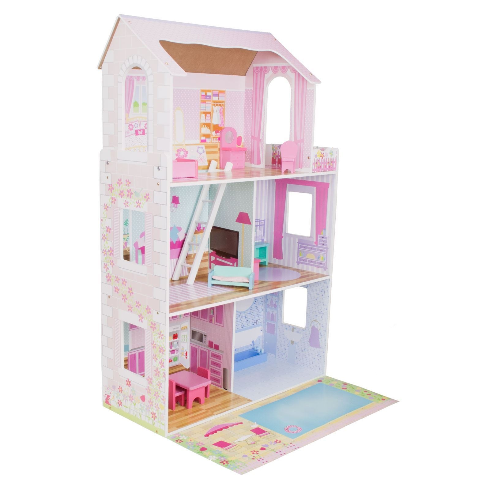Boppi Childrens Girls Wooden Toy Barbie Dolls House With 15