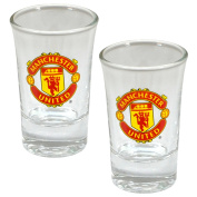 Manchester United FC Official Soccer Crest Shot Glasses (Pack of 2) (One Size)
