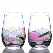 Sonoma Artisan Glassware, Handcrafted and Painted Stemless Wine Glasses, Set of 2, Unique and Special Gift Idea