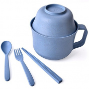 Healthy Kitchen Dinnerware Bowl Sets Eco Biodegradable Unbreakable Bowls Dinnerware with Fork, Spoon, Cup, Chopsticks Children Tableware Set