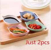Interesting 2pcs Leaves Shape Seasoning Dish Wheat Straw Vinegar Plate