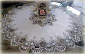 90cm X-Large Lace Doily Table Topper Scarf Cocoa Brown Neutrals & White Tablecloth Round Dresser Scarf