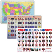 Painless Learning Educational Placemats USA Map Presidents and State Flags Set Non Slip Washable