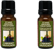Set of 2 - Concentrated Fragrance Oil - Scent - Cabernet Sauvignon- A sweet aroma of wild grapes w/ sweet sugary notes. A wonderful aroma of red sweet wine.Infused w/essential oil.