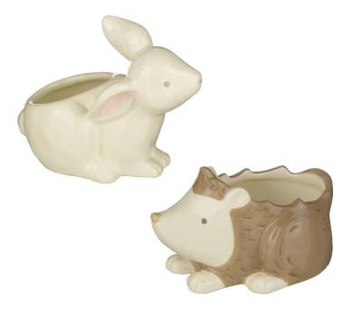 Bunny & Hedgehog Cotton Ball And Swab Holder Set