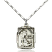 Sterling Silver St. Cecilia Pendant 1.6cm X 1.3cm with 46cm Sterling Silver Curb Chain