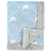 Hudson Baby Plush Blanket with Furry Binding & Back, Elephant