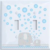 Elephant Light Switch Plate Covers / Double Toggle Switch Plate / Elephants with Grey and Blue Chevron Switch Plates with Blue Bubbles
