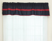 Baby Doll Bedding Solid Stripe Window Valance, Navy/Red