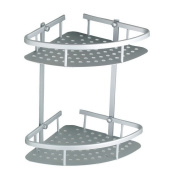 Bathroom Corner Shelves, 2 Tier Rust-Proof Aluminium Alloy Bathroom Shower Caddy with 2 Hooks