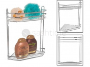 2 Tier Chrome Corner Shower Caddy Bathroom Storage Rack Shelf Organiser Basket