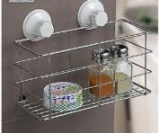 Shower Caddy Shelf Suction Cup Stainless Steel Bathroom Shampoo Rack/ Bath Gel